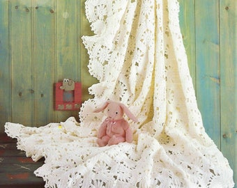 Crochet Pattern Baby Shawl Motifs Blanket Afghan Christening Heirloom Lacy Download