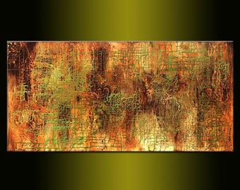 Original Modern Metallic Abstract Painting ,Contemporary Large Fine Art by Henry Parsinia 48x24
