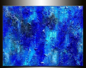 Textured Large Blue Abstract Painting Contemporary Modern Canvas art by Henry Parsinia 48x36