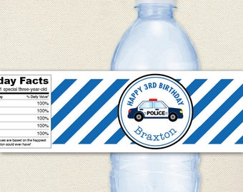 Police Birthday Party - Police Car - 100% waterproof personalized water bottle labels
