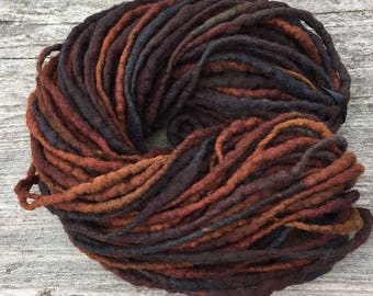 Handspun dread yarn, 43 yards and 3.35 ounces, 95 grams, hand felted in merino wool