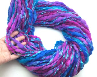 Handspun merino and silk yarn, very super bulky weight - 58 yards, 3.85 ounces/ 109 grams