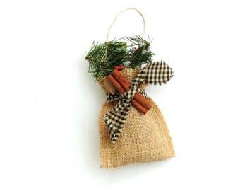 Christmas decoration, pine sachet, country Christmas, ornament, hanging sachet, country prim decor, sachet bag, burlap sachet, tree trimming