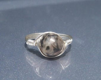 25% Off Sale LG Fossiliferous Limestone Argentium Sterling Silver Wire Wrapped Custom Sized Ring