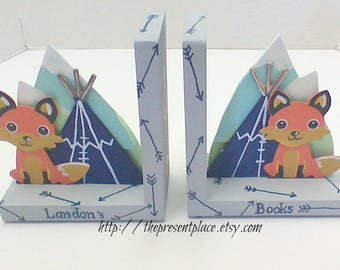 boys personalized bookends,woodland bookends,fox bookends,tribal bookends,teepee,fox,arrows,forrest animals,adventure bookends,adventure