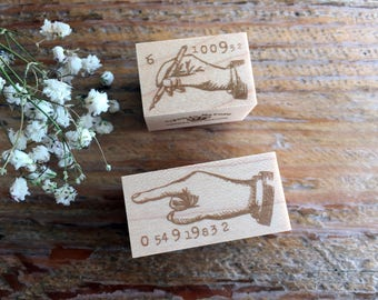 "New-Japanese Wooden Rubber Stamps - Vintage ""Hand""  Stamps for Journaling, Scrapbooking, Packaging"