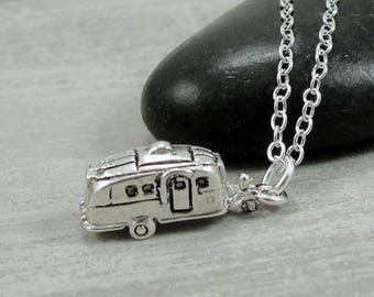 Camper RV Necklace, Silver Camper Charm on a Silver Cable Chain
