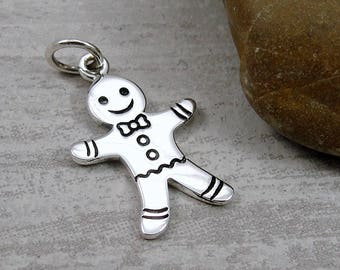 Sterling Silver Gingerbread Man Charm, Gingerbread Cookie Charm, Christmas Jewelry, Christmas Charm Pendant for Necklace or Bracelet