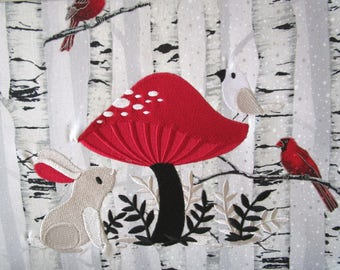 Mushroom Bunny Embroidered Fabric Block Large Winter