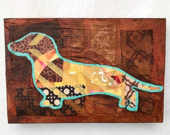 Dachshund mixed media original painting