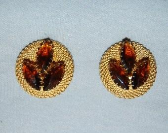 Vintage / Amber / Rhinestone / Earrings / Clip Back / old jewelry