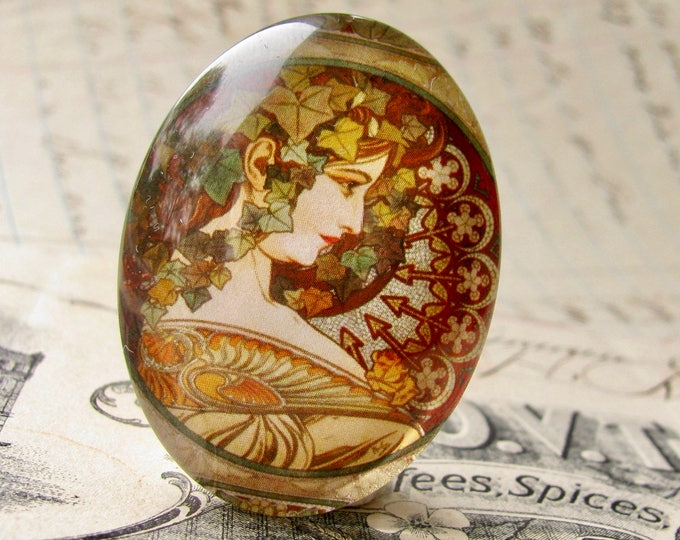 """From our Art Nouveau collection, Mucha's  """"Ivy"""" print, Le Lierre, handmade cabochon, 40x30 40x30mm, glass oval cabochon, brown, green"""