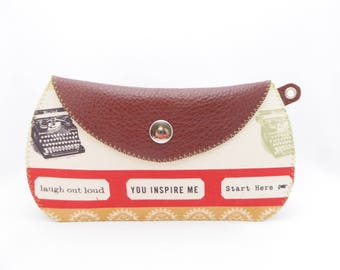 Burgundy Leather Wallet / Small Leather Bag / Argentine Leather and Modern Cotton