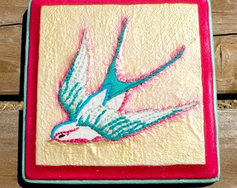 Sparrow - Hand Embroidery on Wood