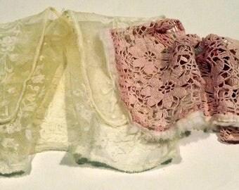 Cream lace girl's collar plus pink crochet child's collar
