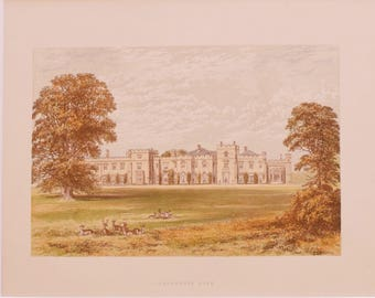 Antique English Matted Lithograph of Panshanger Hall Hertforshire England - English Estate Country Home