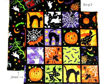 Halloween Napkins, Kids Cloth Napkins, Child School Lunch Box Napkins, Set of 2 for Boys or Girls