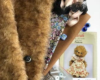 German mohair fabric, glass eyes, cotton batiste fabric liberty of london tana lawn, silk ribbon french lace, teddy bear pattern, set #22