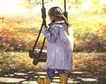 Little Blonde Girl Swing ORIGINAL Painting, yellow, gold, autumn, fall paintings, swing, girls room, braid, wall decor,  Vickie Wade Art