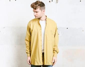 Men Collarless Shirt . Vintage Yellow Band Collar Shirt Work Shirt Minimalist Dress Shirt . size Large