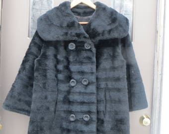 1960 Black Faux Fur Double Breasted Oversized  Collar fashioned by  Tudor City swing coat