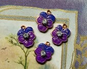 4 Vintage pansy charms,enameled pansies,Guilloche charms,enamel Pansy,Enameled Charms,rhinestone pansy, Shabby chic Charms #G16K