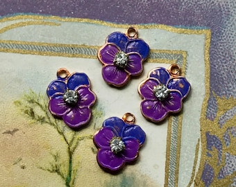 3 Vintage pansy charms,enameled pansies,Guilloche charms,enamel Pansy,Enameled Charms,rhinestone pansy, Shabby chic Charms #G16K