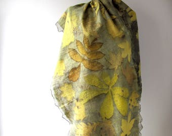 Nuno Felted scarf Yellow Grey felt scarf Autumn scarf plant print scarf women felt shawl printed shawl botanicals by Galafilc outdoors gift