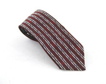 1960s Burgundy and Silver Skinny Tie - Skinny Necktie // Striped Skinny Tie // 60s Style Menswear