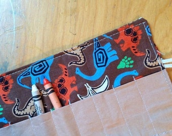 Christmas IN JULY SALE Crayon Roll up Dinos on brown