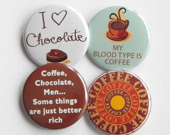"""I Love Chocolate 1.5"""" Pinback Button Badge, Chocolate Lover Backpack Pinback Button Gift, Fridge Magnet, Stocking Stuffer, Office Gag Gift"""