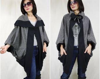 Buttonless Oversize Chic Longsleeve 2 Tone Dark Heather Grey & Black Open Front Jacket Vest Cocoon Cape Cloak Women Outerwear Coat Cardigan