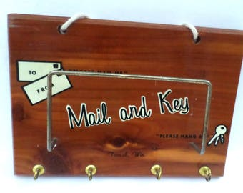 Vintage Cedar Wood Mail and Key Letter Rack Organizer Holder Wall Mount