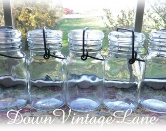 5 Vintage Small Glass Jars w/Wire Handles Vintage Spice Jars 1/2 Pint Jars