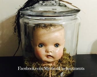 X Large mIsFiTs Creepy Vintage Doll head in a glass Apothecary Jar OOAK