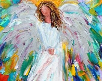 Guardian Angel painting original oil 6x6 palette knife impressionism on canvas fine art by Karen Tarlton