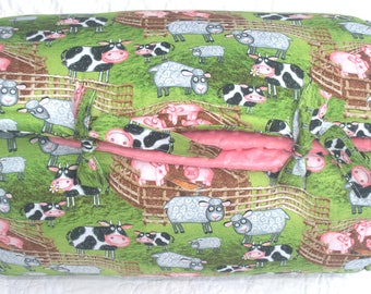 Funny Farm in PInk Janiebee Quilted Nap Mat, safe THICK adorable made in USA toddler nap mats