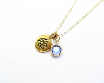 Lotus Birthstone Necklace 14kt Gold Fill Swarovski Crystal Necklace, Bridesmaids Gift, September Sapphire Birthstone, Personalized Custom