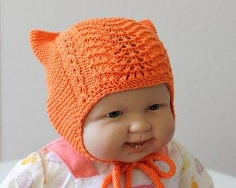 Baby kitty hat. Baby earflap hat. Baby beanie. Merino wool hat. Unisex baby hat  Preemie hat. Newborn hat. Baby shower gift. Baby clothes