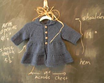 Girl's Blue Knit Coat