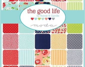 """The Good Life Layer Cake - Bonnie & Camille for Moda - 10"""" Inch Precut Fabric Squares - Floral Layer Cake Fabric - 10 x 10 Stacker"""