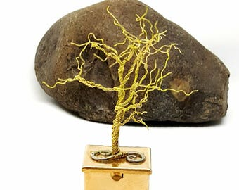 Brass Winter Tree on Pill Box\ Wire Tree Sculpture\ Tree Art\ Tooth Fairy Box\Wire Tree\ Wire Bonsai Tree\ Gift for Her\ Stash Box\  For him