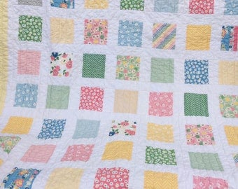 BIRTHDAY SALE - Fresh Air 1930 reproduction fabrics lap quilt - pastel, baby, toddler, girl
