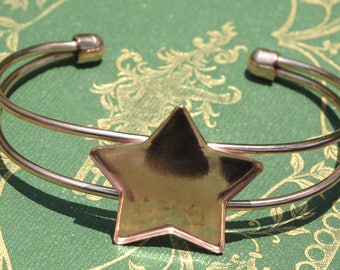 Solid Copper Bracelet Finding with Bezel Cup Star  - Resin, Stones, and other Art Work!