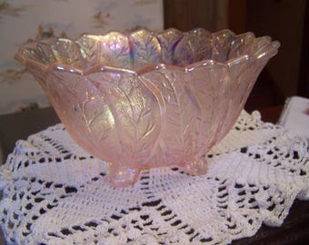 Splendid Pink Iridescent Pink Glass Bowl, Footed,Imperial Glass, Pink Carnival, Pink Luster Glass,Leaves, Table Centerpiece
