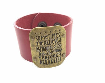 """Red Leather Cuff """"Alice"""" Quote"""