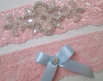 Blush Lace Wedding Garter Set, Rustic Bridal Garter, Blush Pink Lace Prom Garters, Rhinestones, Something Blue, Rustic- Country Bride