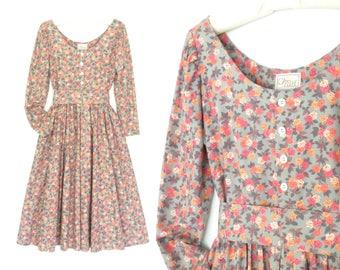 Vintage Floral Dress * 80s Midi Dress * Belted Dress * Summer Dress * Large