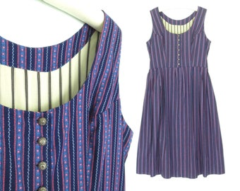 Vintage Dirndl Dress * Alpine Folk Dress * Floral Striped Dress * Large