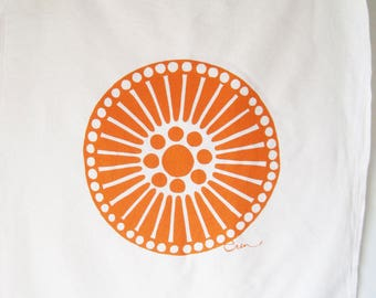 Orange Medallion Tea Towel - READY TO SHIP